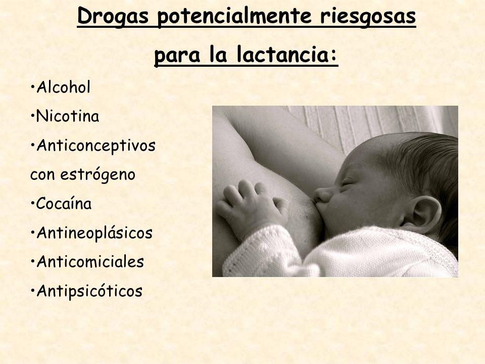 Drogas potencialmente riesgosas para la lactancia: Alcohol Nicotina Anticonceptivos con estrógeno Cocaína Antineoplásicos Anticomiciales Antipsicótico