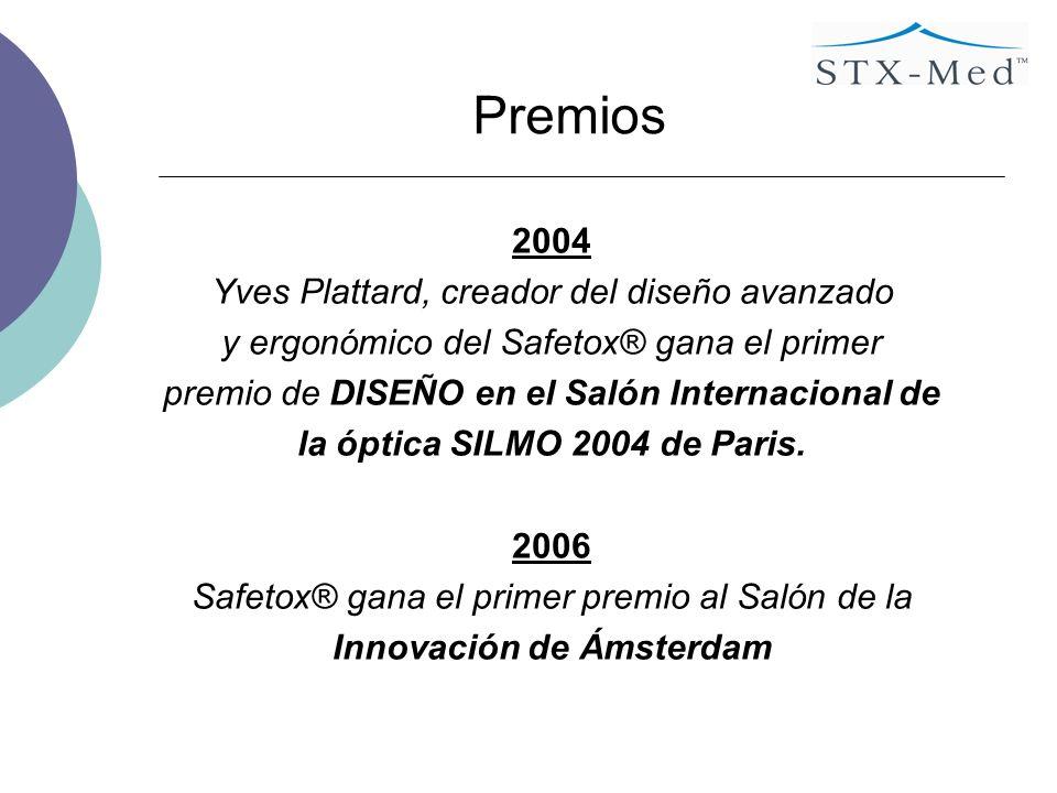 Premios 2004 Yves Plattard, creador del diseño avanzado y ergonómico del Safetox® gana el primer premio de DISEÑO en el Salón Internacional de la óptica SILMO 2004 de Paris.