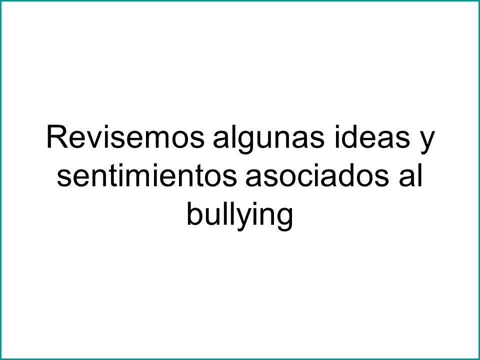 Revisemos algunas ideas y sentimientos asociados al bullying
