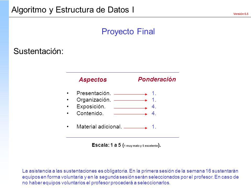 Versión 6.5 Algoritmo y Estructura de Datos I Presentación. Organización. Exposición. Contenido. Material adicional. 1. 4. 1. Aspectos Ponderación Esc