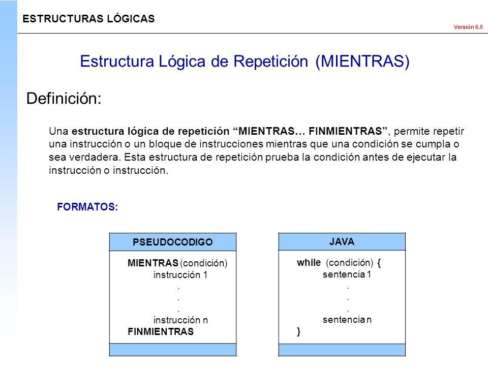 Versión 6.5 Estructura Lógica de Repetición (MIENTRAS) ESTRUCTURAS LÓGICAS Definición: PSEUDOCODIGO MIENTRAS (condición) instrucción 1. instrucción n