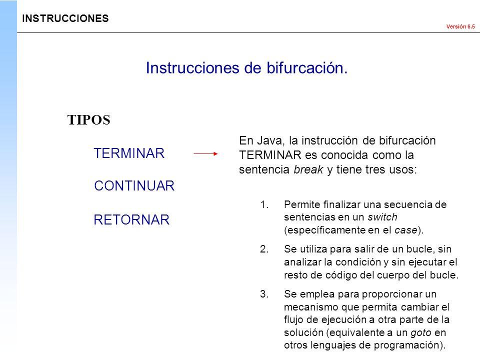 Versión 6.5 Instrucciones de bifurcación. TERMINAR RETORNAR CONTINUAR TIPOS INSTRUCCIONES En Java, la instrucción de bifurcación TERMINAR es conocida
