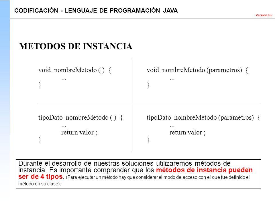 Versión 6.5 void nombreMetodo ( ) {... } METODOS DE INSTANCIA CODIFICACIÓN - LENGUAJE DE PROGRAMACIÓN JAVA Durante el desarrollo de nuestras solucione