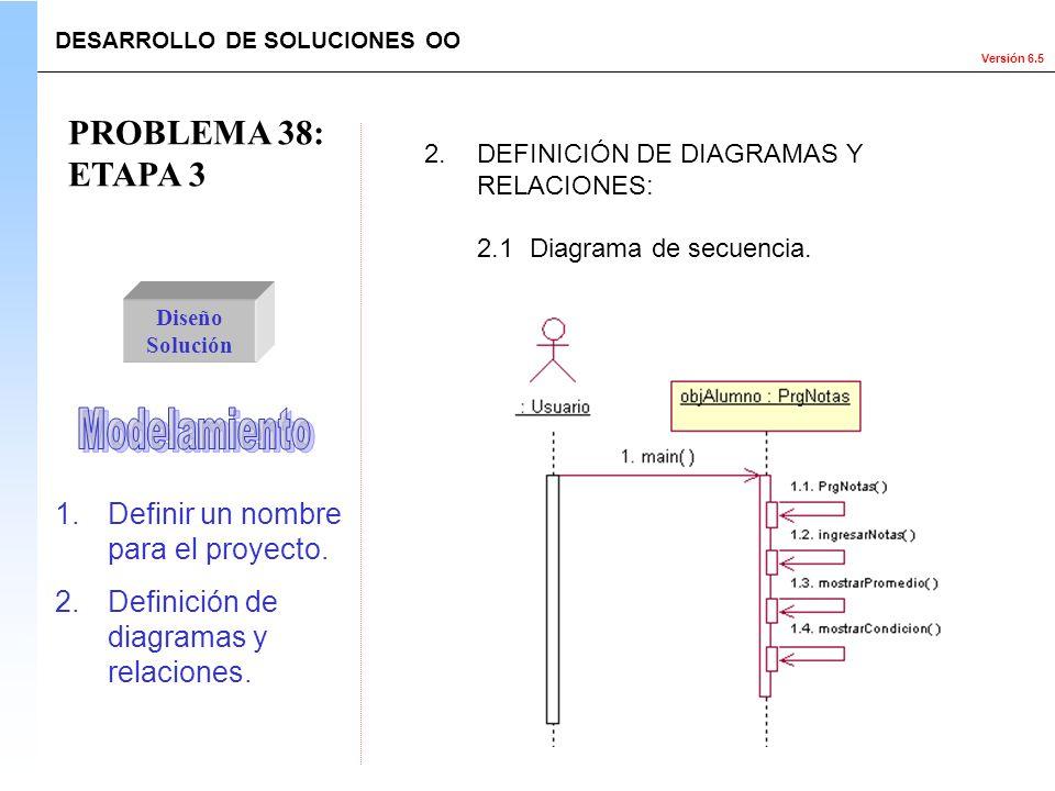 Versión 6.5 Diseño Solución 1.Definir un nombre para el proyecto. 2.Definición de diagramas y relaciones. 2.DEFINICIÓN DE DIAGRAMAS Y RELACIONES: DESA