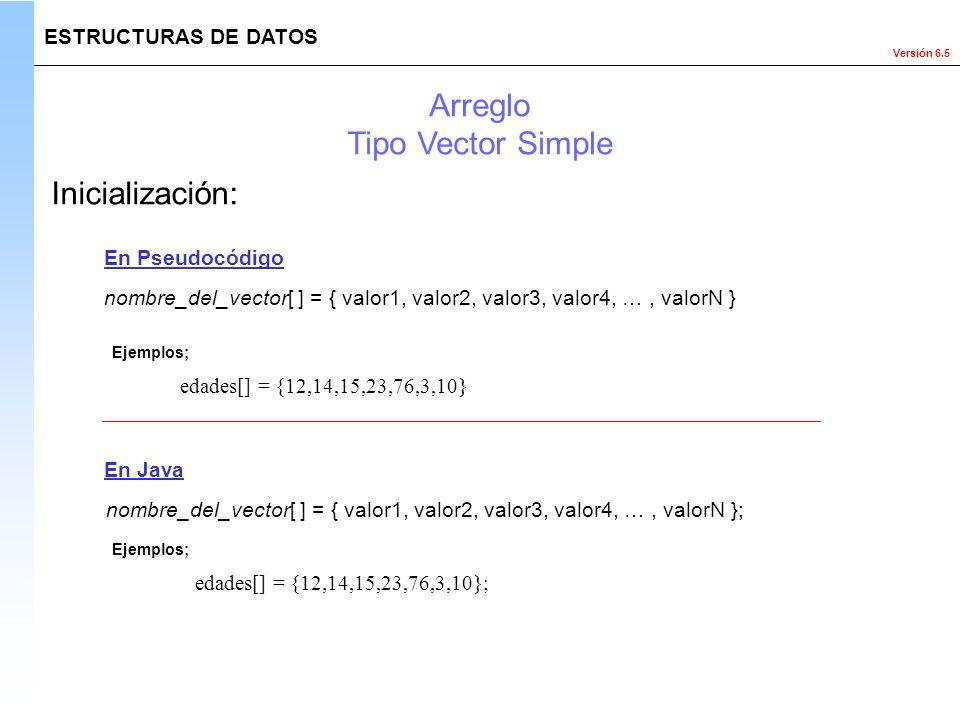 Versión 6.5 ESTRUCTURAS DE DATOS Inicialización: En Pseudocódigo En Java Ejemplos; Arreglo Tipo Vector Simple nombre_del_vector[ ] = { valor1, valor2,