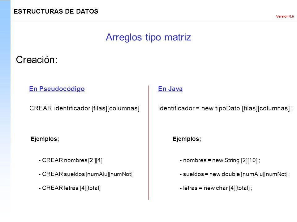 Versión 6.5 ESTRUCTURAS DE DATOS Creación: identificador = new tipoDato [filas][columnas] ;CREAR identificador [filas][columnas] En PseudocódigoEn Jav