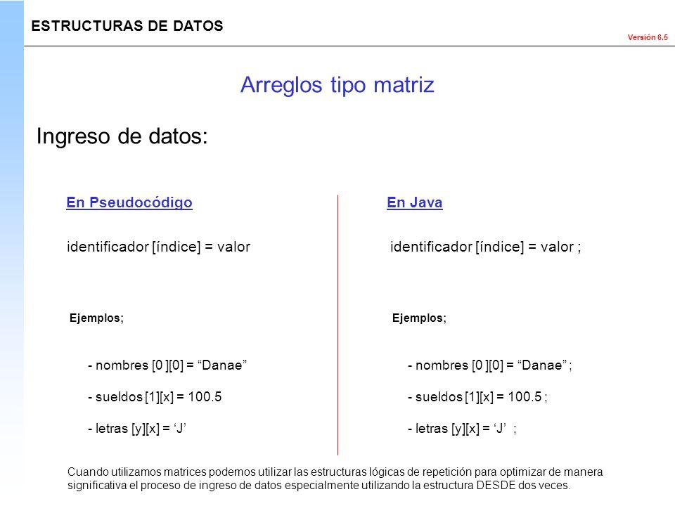 Versión 6.5 ESTRUCTURAS DE DATOS Ingreso de datos: identificador [índice] = valor ;identificador [índice] = valor En PseudocódigoEn Java Ejemplos; Cua