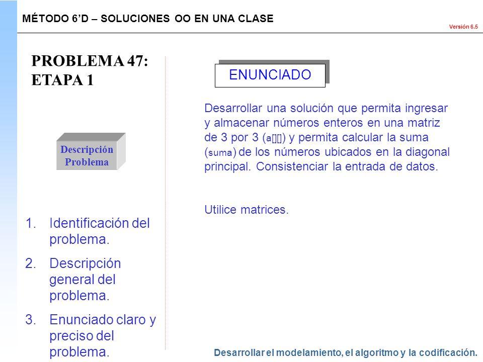 Versión 6.5 PROBLEMA 47: ETAPA 1 Descripción Problema 1.Identificación del problema. 2.Descripción general del problema. 3.Enunciado claro y preciso d