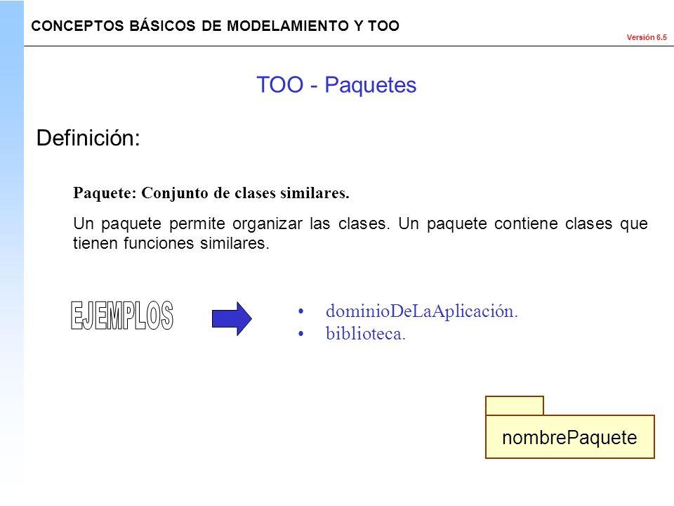 Versión 6.5 Definición: Paquete: Conjunto de clases similares. Un paquete permite organizar las clases. Un paquete contiene clases que tienen funcione