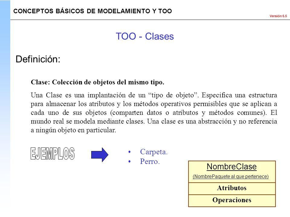Versión 6.5 Definición: Clase: Colección de objetos del mismo tipo. Una Clase es una implantación de un tipo de objeto. Especifica una estructura para
