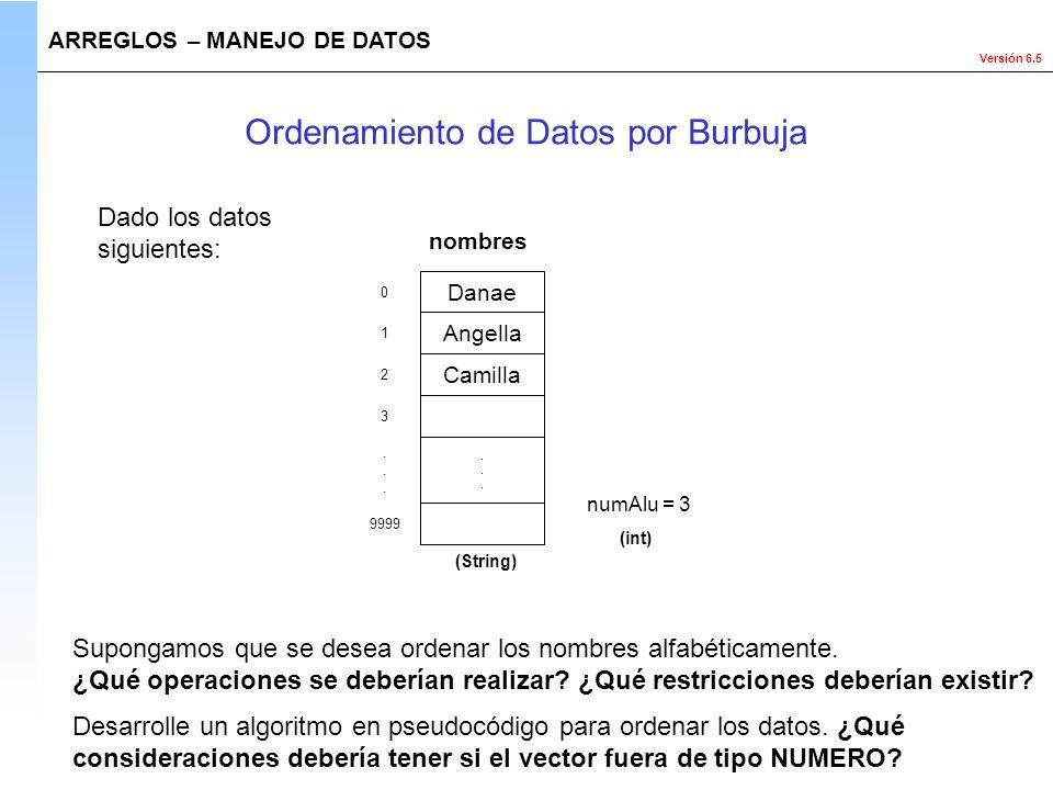 Versión 6.5 Dado los datos siguientes: ARREGLOS – MANEJO DE DATOS Ordenamiento de Datos por Burbuja numAlu = 3 (int) Supongamos que se desea ordenar l