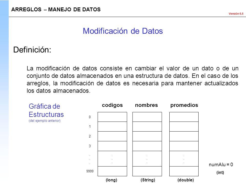 Versión 6.5 Definición: ARREGLOS – MANEJO DE DATOS Modificación de Datos La modificación de datos consiste en cambiar el valor de un dato o de un conj