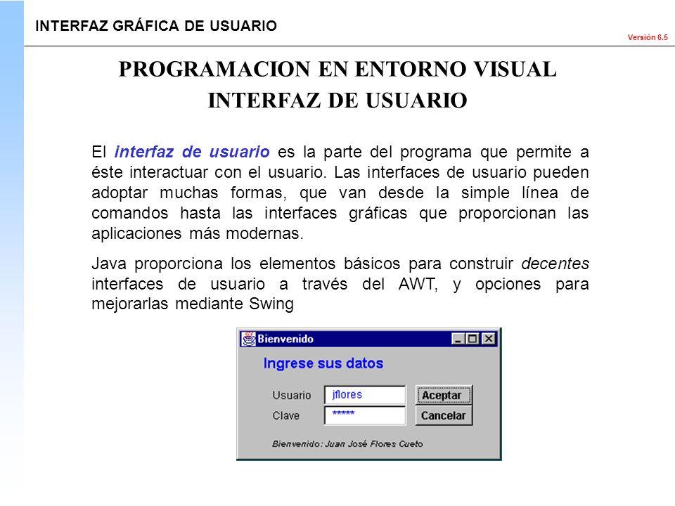 Versión 6.5 El interfaz de usuario es la parte del programa que permite a éste interactuar con el usuario. Las interfaces de usuario pueden adoptar mu