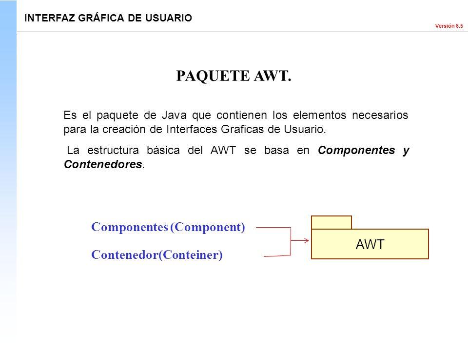 Versión 6.5 Es el paquete de Java que contienen los elementos necesarios para la creación de Interfaces Graficas de Usuario. La estructura básica del