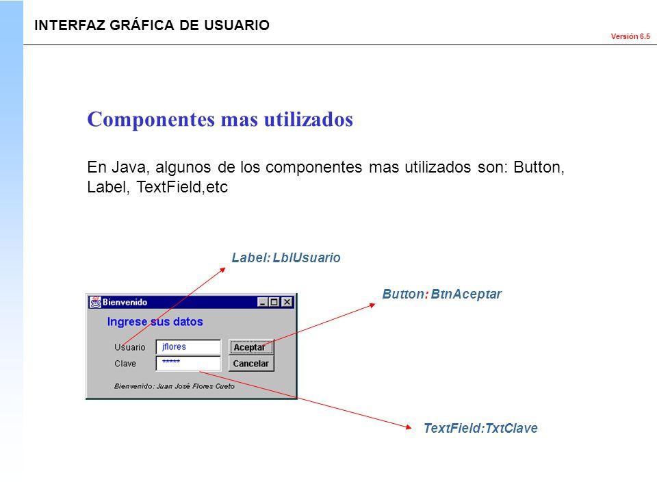 Versión 6.5 Componentes mas utilizados En Java, algunos de los componentes mas utilizados son: Button, Label, TextField,etc Button: BtnAceptar TextFie