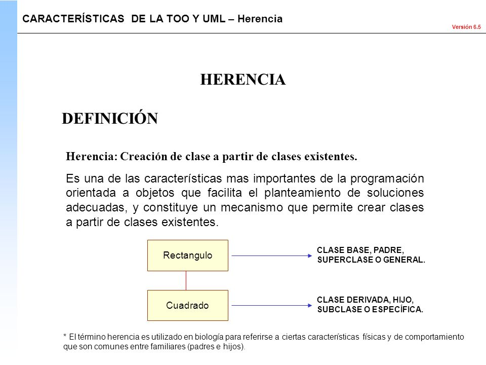 Versión 6.5 HERENCIA CARACTERÍSTICAS DE LA TOO Y UML – Herencia Herencia: Creación de clase a partir de clases existentes. Es una de las característic