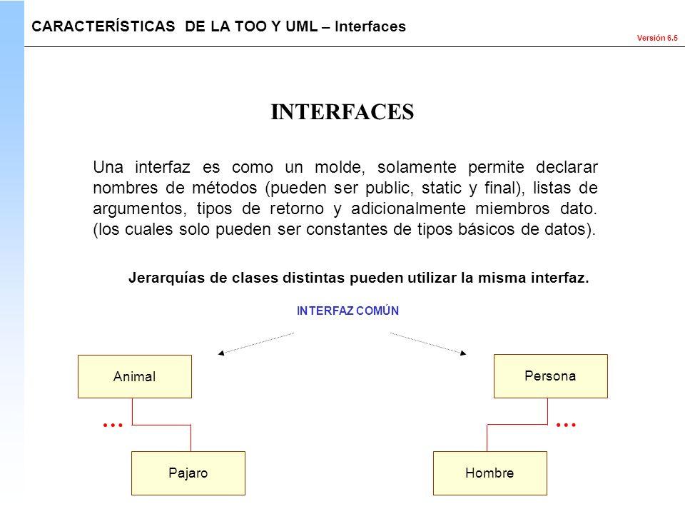 Versión 6.5 INTERFACES Una interfaz es como un molde, solamente permite declarar nombres de métodos (pueden ser public, static y final), listas de arg