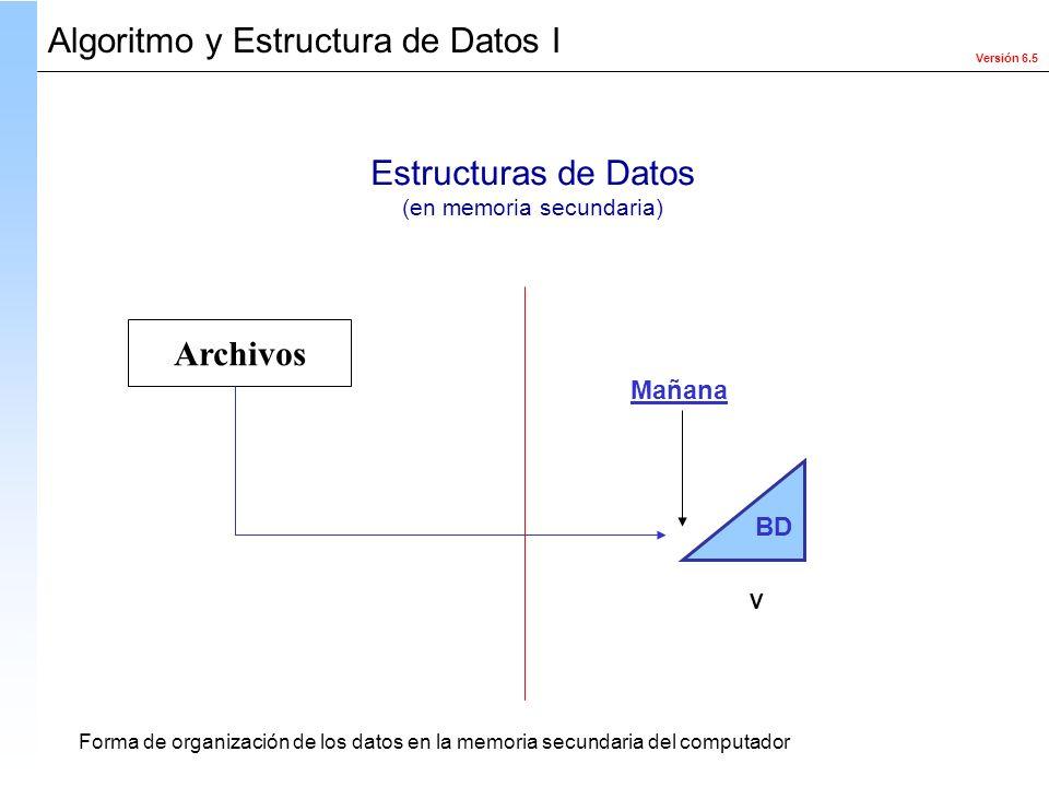 Versión 6.5 Algoritmo y Estructura de Datos I Estructuras de Datos (en memoria secundaria) Forma de organización de los datos en la memoria secundaria