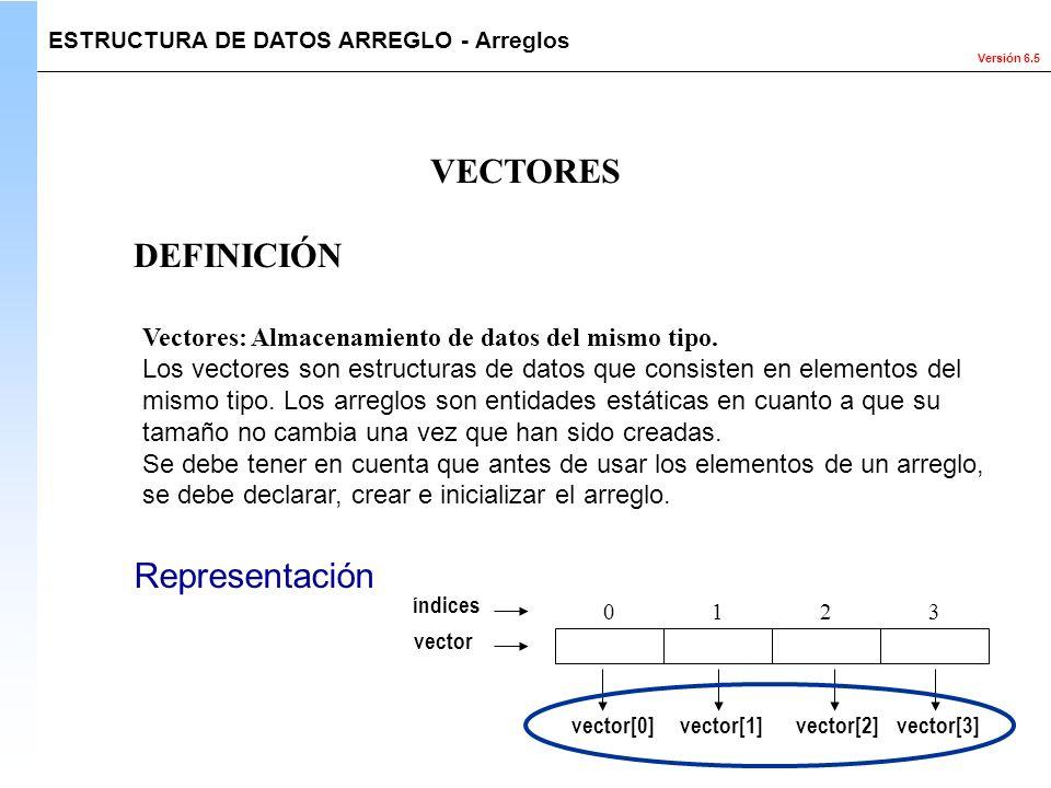Versión 6.5 VECTORES Vectores: Almacenamiento de datos del mismo tipo. Los vectores son estructuras de datos que consisten en elementos del mismo tipo