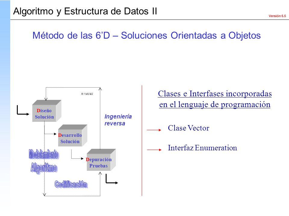 Versión 6.5 Algoritmo y Estructura de Datos II Diseño Solución Desarrollo Solución Depuración Pruebas Ingeniería reversa n veces Clase Vector Interfaz