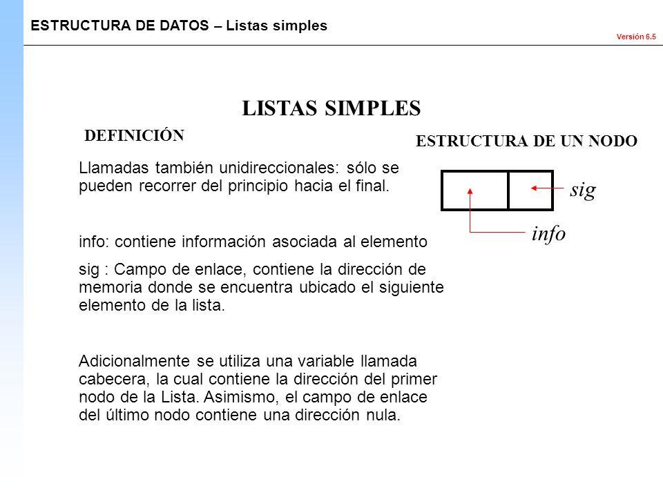 Versión 6.5 ESTRUCTURA DE DATOS – Listas simples LISTAS SIMPLES Llamadas también unidireccionales: sólo se pueden recorrer del principio hacia el fina