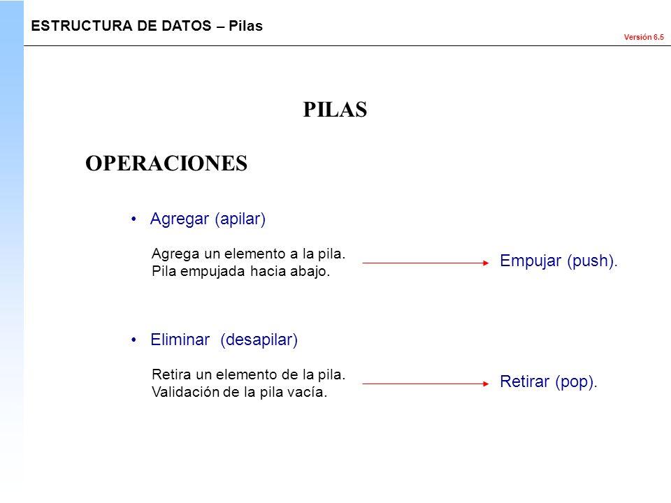 Versión 6.5 OPERACIONES ESTRUCTURA DE DATOS – Pilas PILAS Agregar (apilar) Agrega un elemento a la pila. Pila empujada hacia abajo. Empujar (push). El