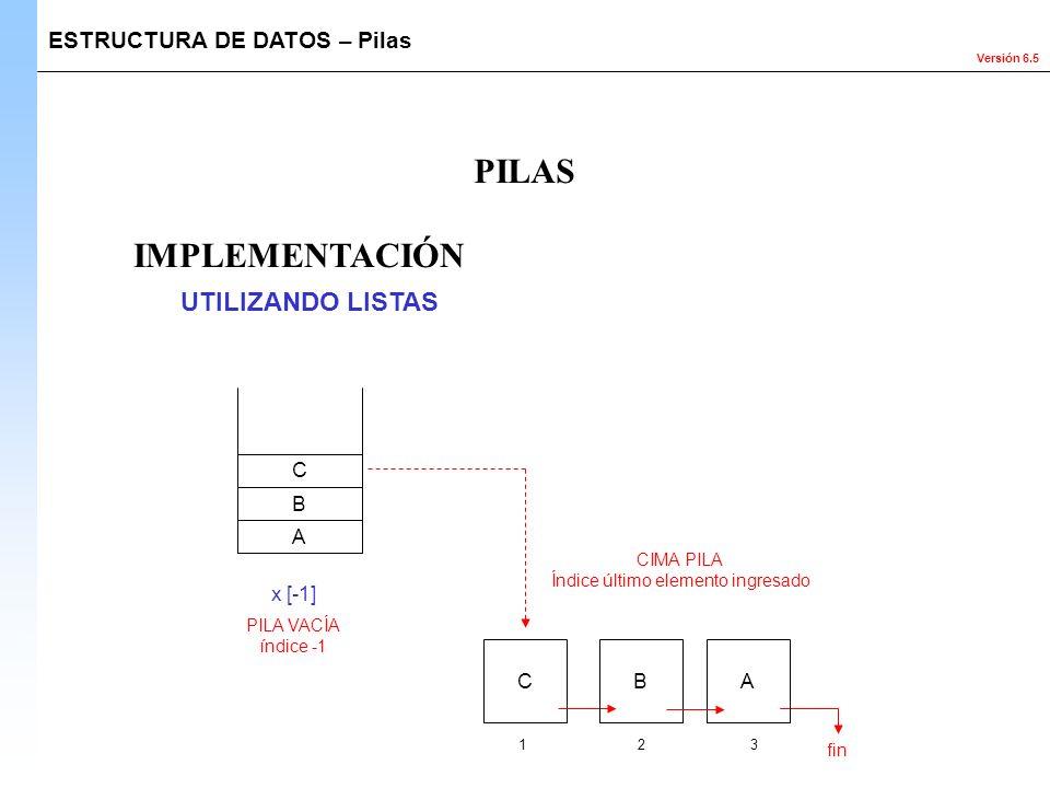 Versión 6.5 IMPLEMENTACIÓN ESTRUCTURA DE DATOS – Pilas PILAS UTILIZANDO LISTAS A B C x [-1] 123 fin CBA CIMA PILA Índice último elemento ingresado PIL
