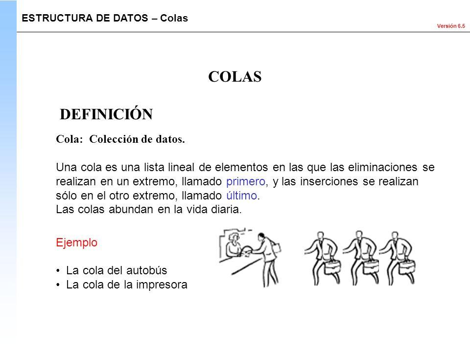 Versión 6.5 Cola: Colección de datos. Una cola es una lista lineal de elementos en las que las eliminaciones se realizan en un extremo, llamado primer