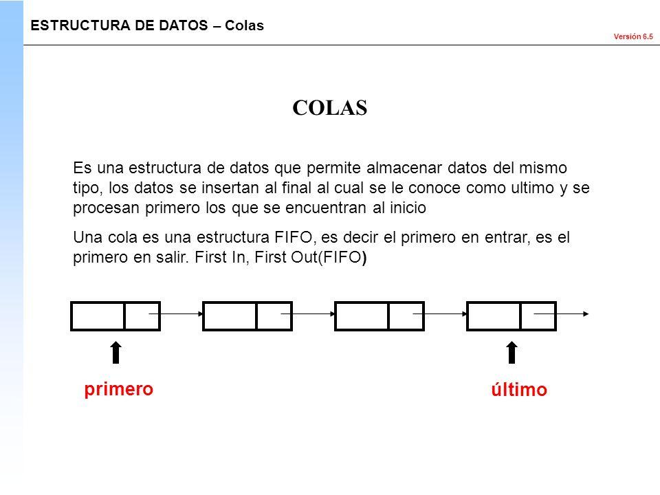 Versión 6.5 ESTRUCTURA DE DATOS – Colas COLAS Es una estructura de datos que permite almacenar datos del mismo tipo, los datos se insertan al final al