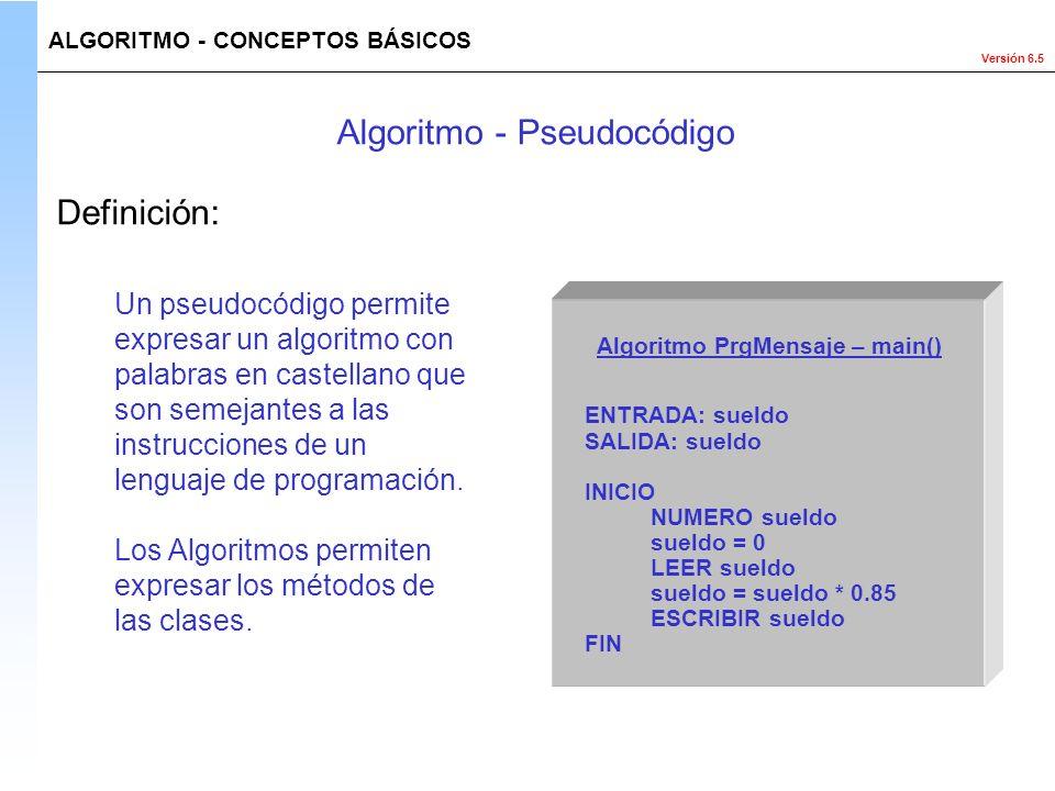Versión 6.5 Un pseudocódigo permite expresar un algoritmo con palabras en castellano que son semejantes a las instrucciones de un lenguaje de programa