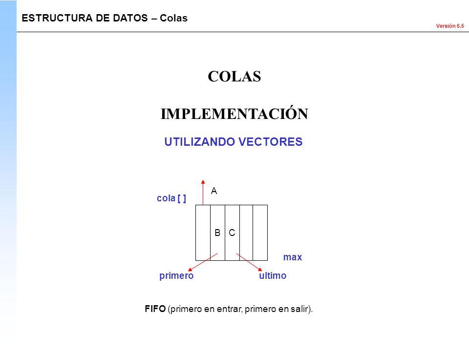 Versión 6.5 IMPLEMENTACIÓN ESTRUCTURA DE DATOS – Colas COLAS B C ultimoprimero A FIFO (primero en entrar, primero en salir). UTILIZANDO VECTORES max c