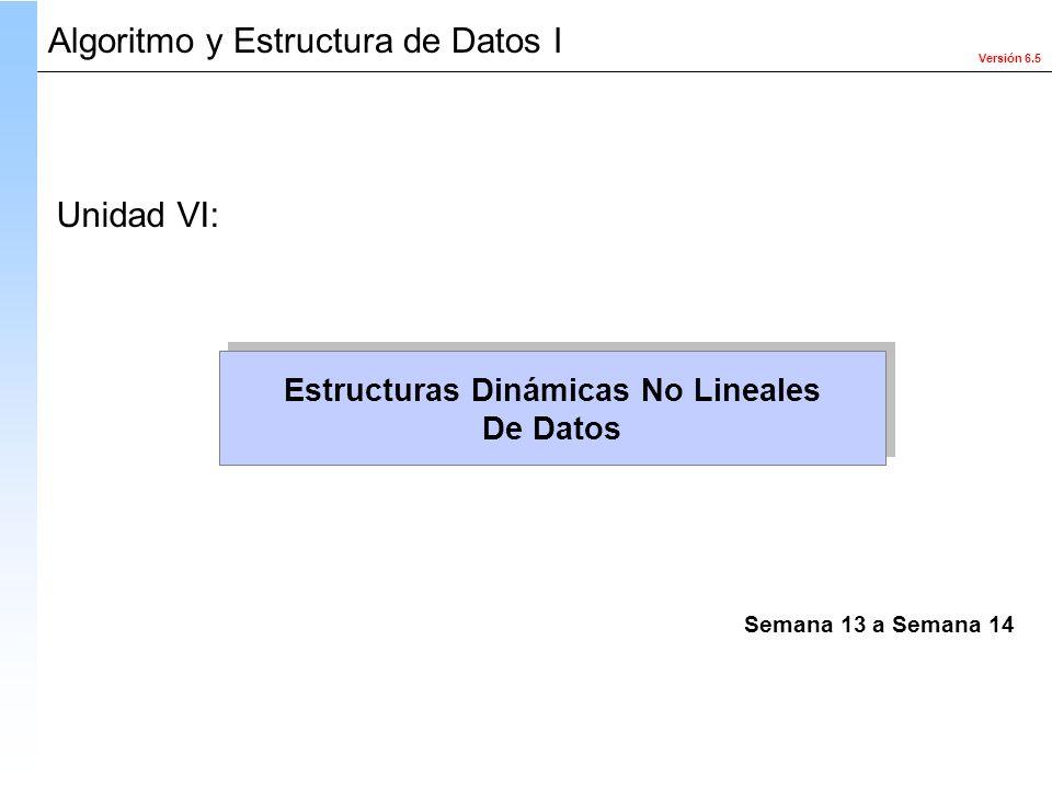 Versión 6.5 Algoritmo y Estructura de Datos I Estructuras Dinámicas No Lineales De Datos Estructuras Dinámicas No Lineales De Datos Unidad VI: Semana