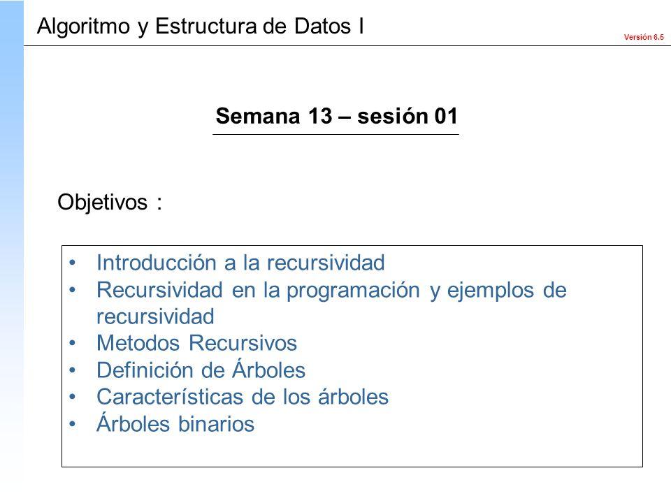 Versión 6.5 Objetivos : Introducción a la recursividad Recursividad en la programación y ejemplos de recursividad Metodos Recursivos Definición de Árb