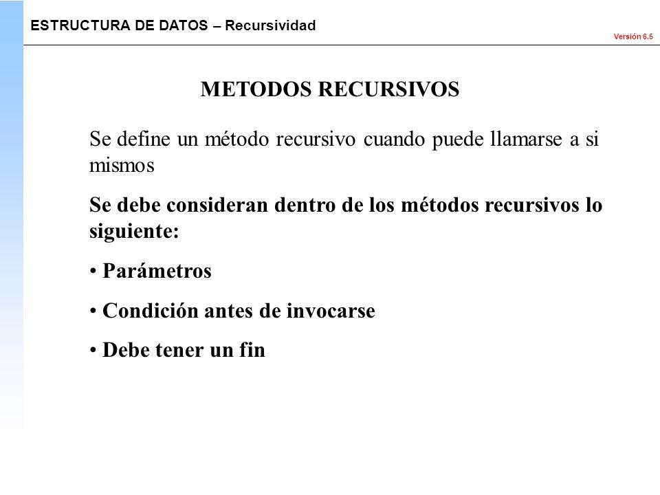 Versión 6.5 Se define un método recursivo cuando puede llamarse a si mismos Se debe consideran dentro de los métodos recursivos lo siguiente: Parámetr