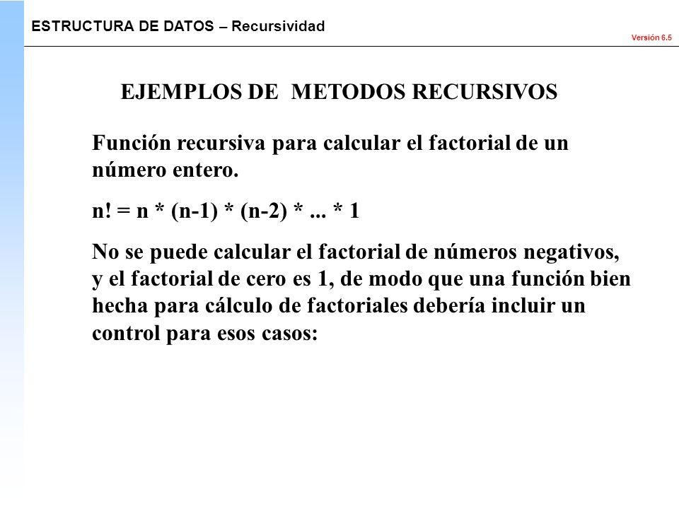 Versión 6.5 Función recursiva para calcular el factorial de un número entero. n! = n * (n-1) * (n-2) *... * 1 No se puede calcular el factorial de núm
