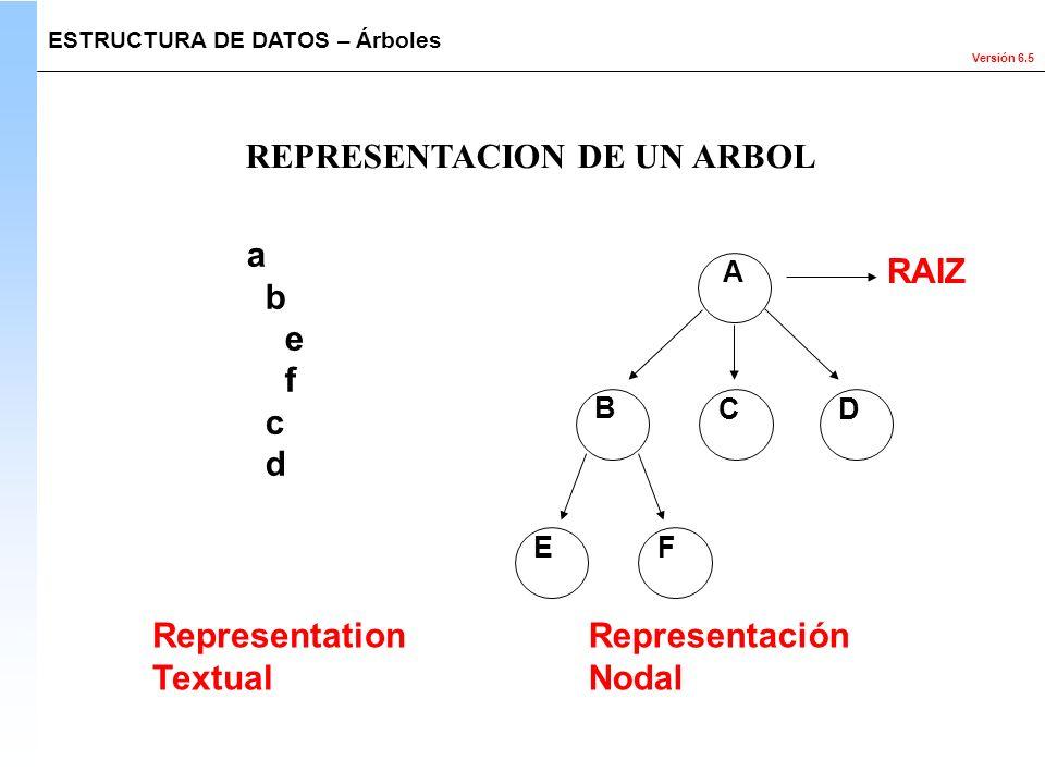 Versión 6.5 ESTRUCTURA DE DATOS – Árboles REPRESENTACION DE UN ARBOL RAIZ A CD B EF a b e f c d Representation Textual Representación Nodal