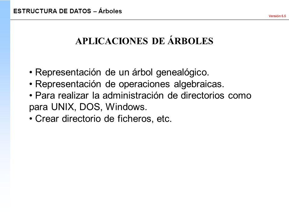 Versión 6.5 Representación de un árbol genealógico. Representación de operaciones algebraicas. Para realizar la administración de directorios como par