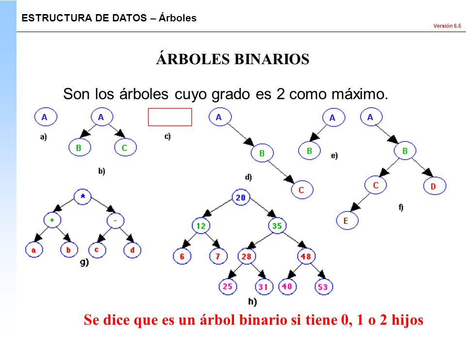 Versión 6.5 Son los árboles cuyo grado es 2 como máximo. ESTRUCTURA DE DATOS – Árboles ÁRBOLES BINARIOS Se dice que es un árbol binario si tiene 0, 1