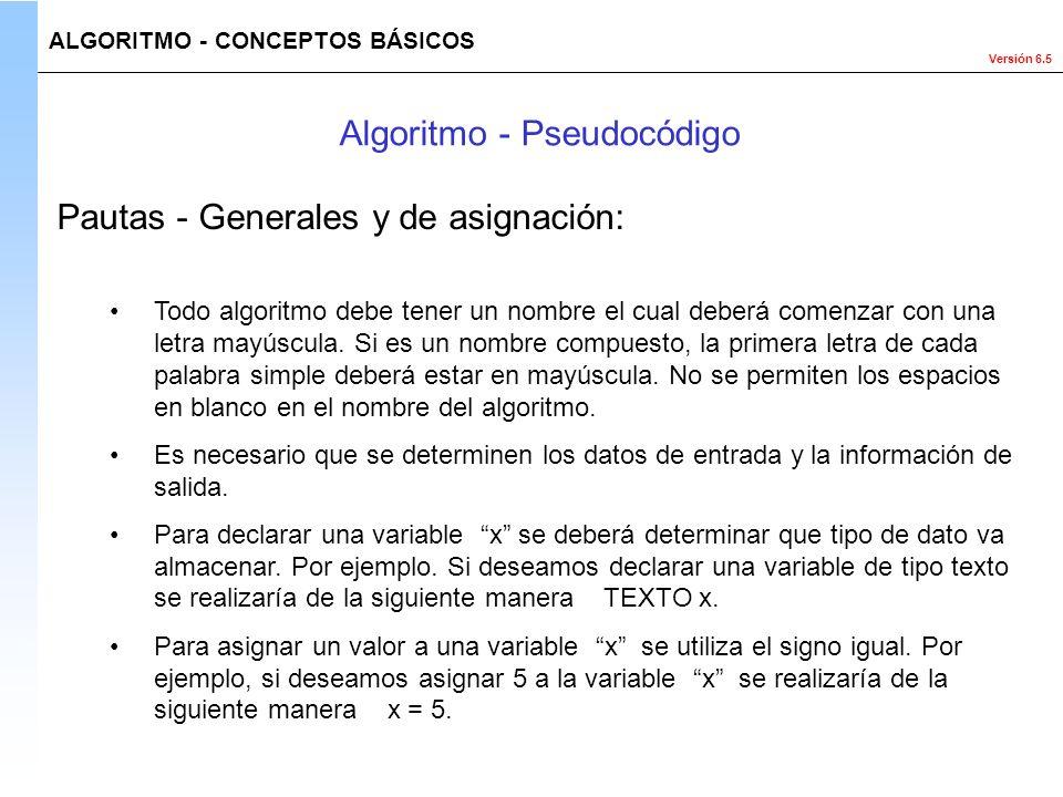 Versión 6.5 Todo algoritmo debe tener un nombre el cual deberá comenzar con una letra mayúscula. Si es un nombre compuesto, la primera letra de cada p