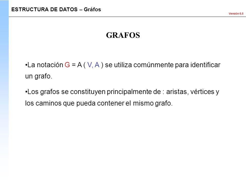 Versión 6.5 GRAFOS La notación G = A ( V, A ) se utiliza comúnmente para identificar un grafo. Los grafos se constituyen principalmente de : aristas,