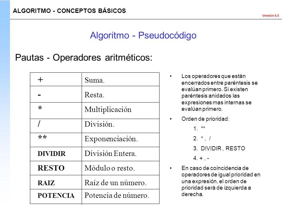 Versión 6.5 Los operadores que están encerrados entre paréntesis se evalúan primero. Si existen paréntesis anidados las expresiones mas internas se ev