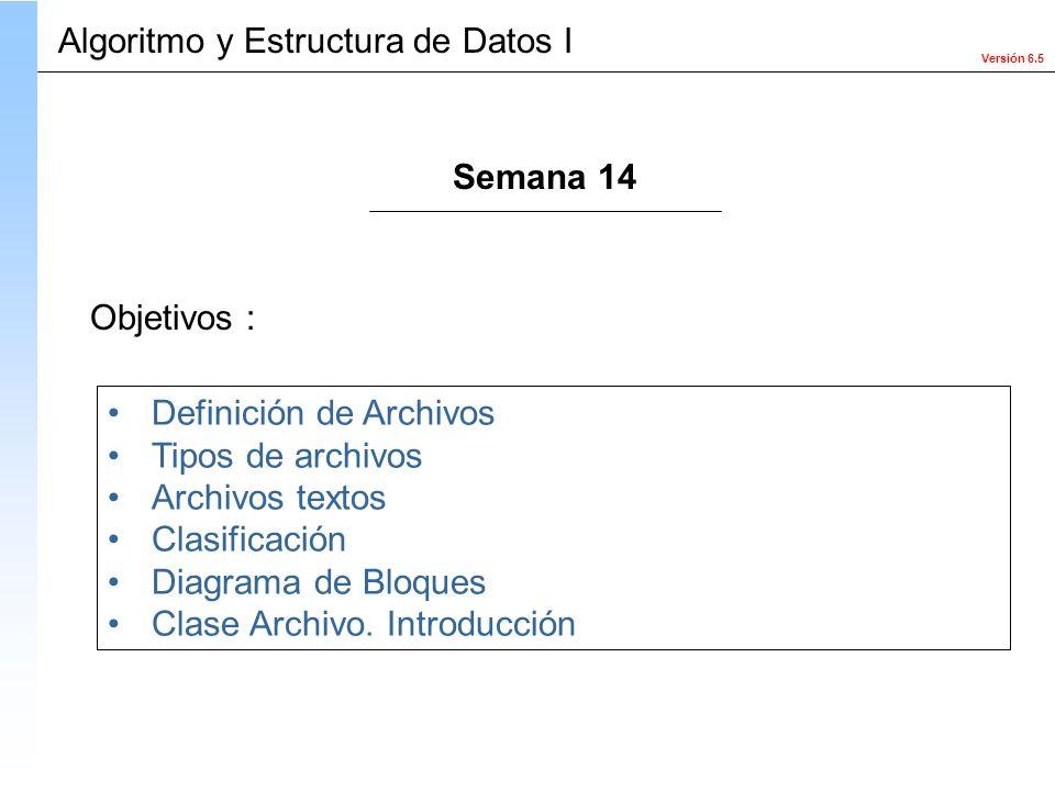 Versión 6.5 Objetivos : Definición de Archivos Tipos de archivos Archivos textos Clasificación Diagrama de Bloques Clase Archivo. Introducción Algorit