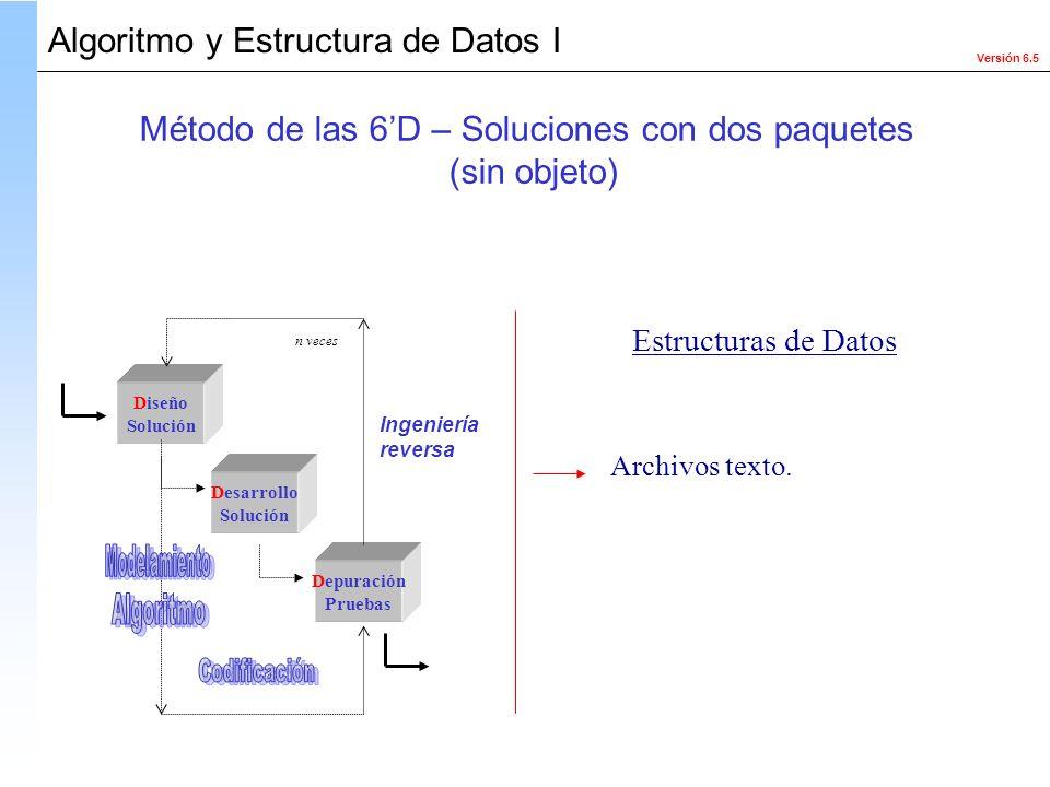 Versión 6.5 Algoritmo y Estructura de Datos I Diseño Solución Desarrollo Solución Depuración Pruebas Ingeniería reversa n veces Estructuras de Datos A
