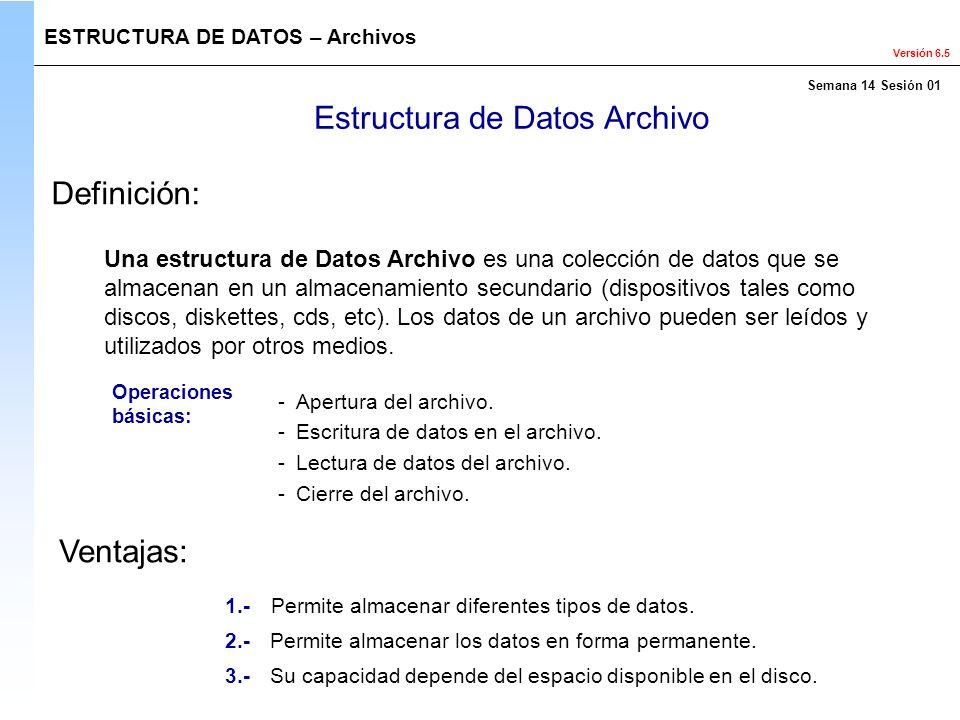 Versión 6.5 Estructura de Datos Archivo Una estructura de Datos Archivo es una colección de datos que se almacenan en un almacenamiento secundario (di