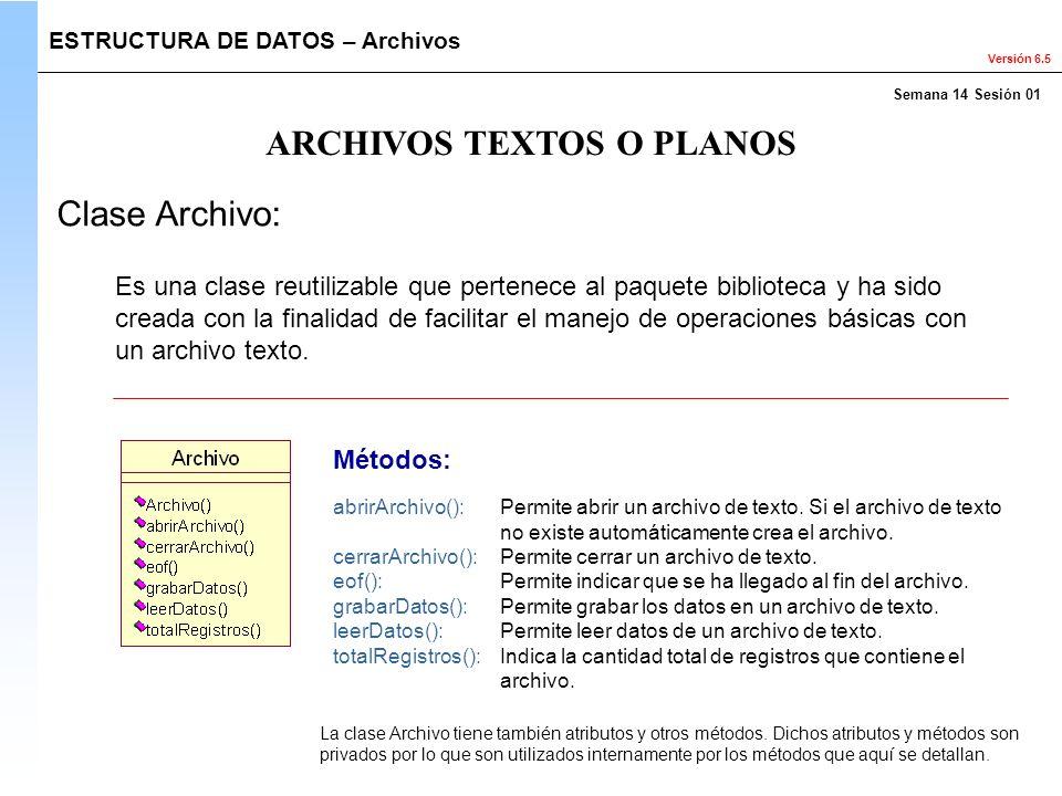 Versión 6.5 ARCHIVOS TEXTOS O PLANOS ESTRUCTURA DE DATOS – Archivos Clase Archivo: Métodos: abrirArchivo(): Permite abrir un archivo de texto. Si el a