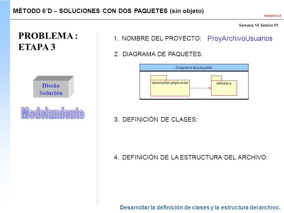 Versión 6.5 PROBLEMA : ETAPA 3 Diseño Solución 1.NOMBRE DEL PROYECTO: ProyArchivoUsuarios 2.DIAGRAMA DE PAQUETES: MÉTODO 6D – SOLUCIONES CON DOS PAQUE