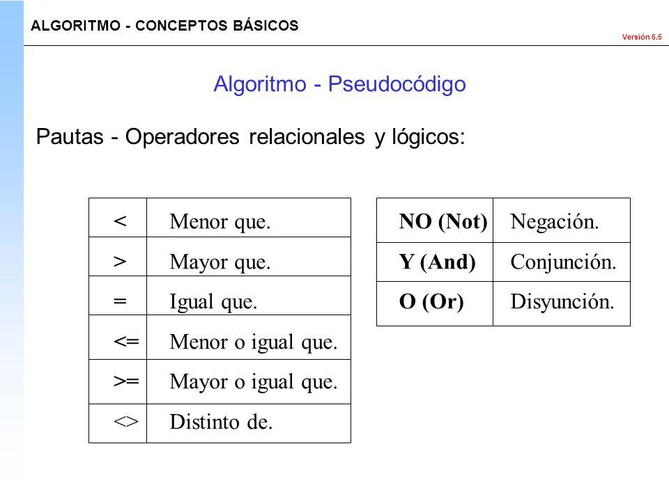 Versión 6.5 <Menor que. >Mayor que. =Igual que. <=Menor o igual que. >=Mayor o igual que. <>Distinto de. NO (Not)Negación. Y (And)Conjunción. O (Or)Di