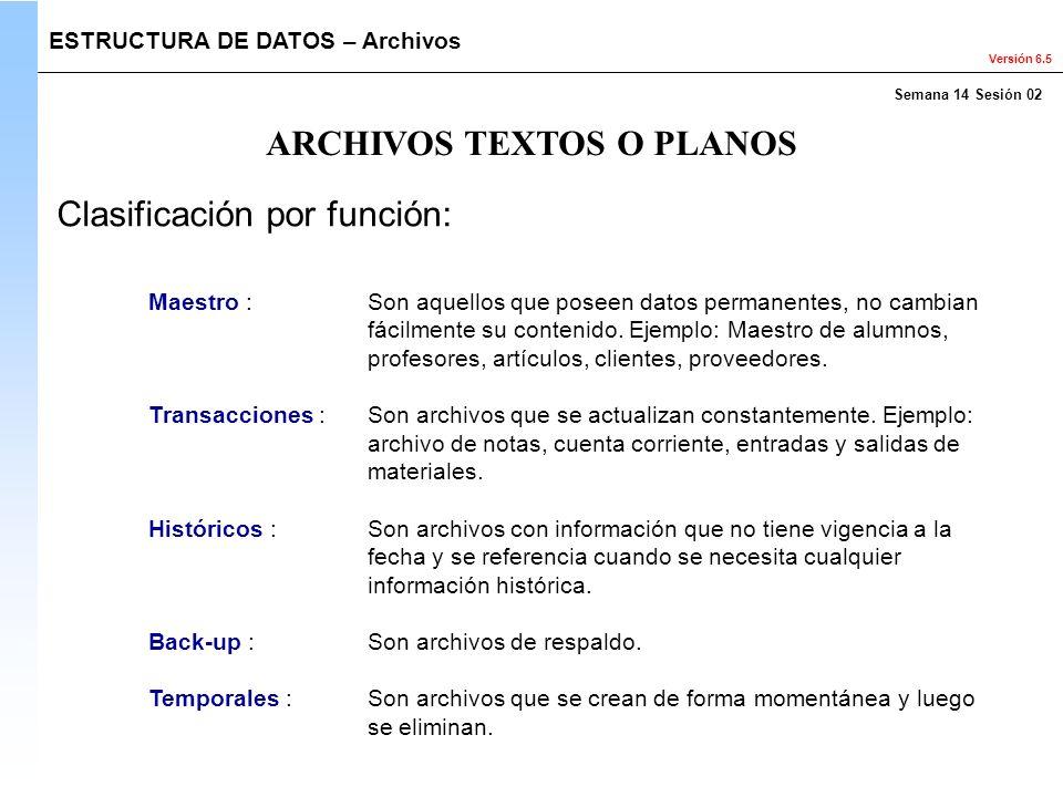 Versión 6.5 Maestro : Son aquellos que poseen datos permanentes, no cambian fácilmente su contenido. Ejemplo: Maestro de alumnos, profesores, artículo