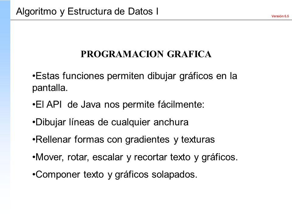 Versión 6.5 Algoritmo y Estructura de Datos I Estas funciones permiten dibujar gráficos en la pantalla. El API de Java nos permite fácilmente: Dibujar
