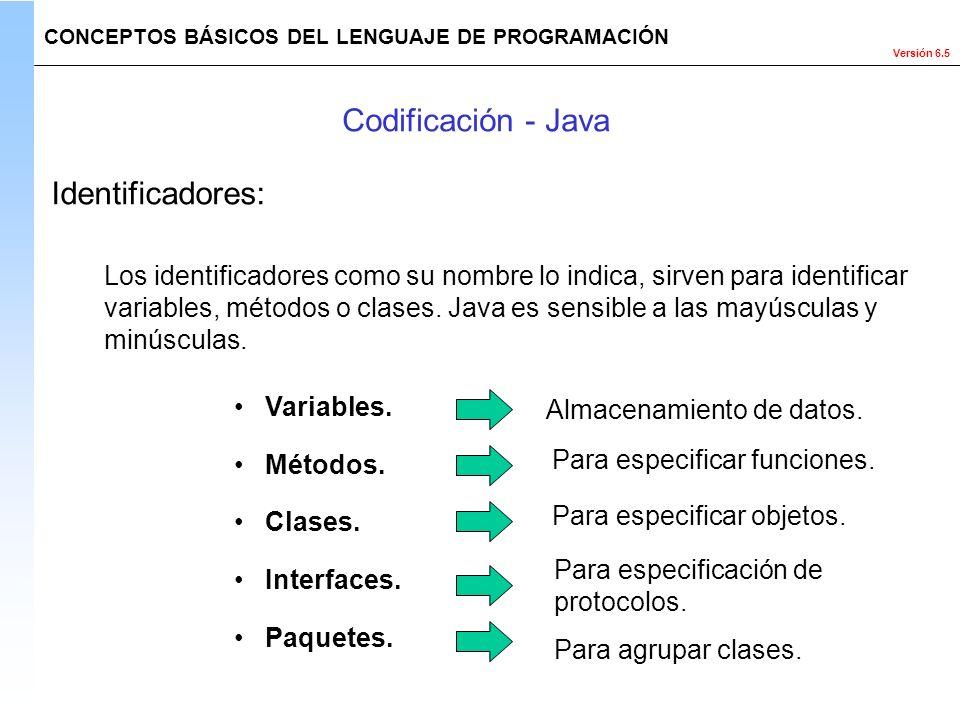 Versión 6.5 Los identificadores como su nombre lo indica, sirven para identificar variables, métodos o clases. Java es sensible a las mayúsculas y min